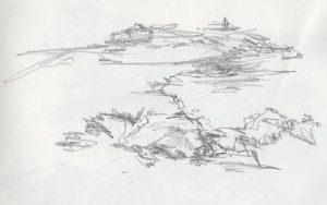 Blind contour drawing of coastline