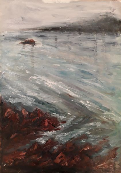 Painting of my own, oils, rocks and water