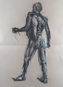 Mass figure, drawing with charcoal and chalk