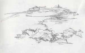 Blind contour drawing of coastline