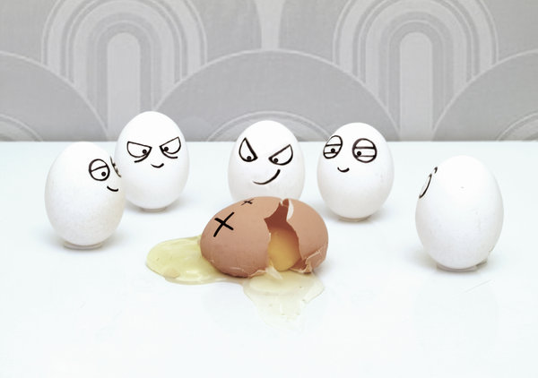 Gang of eggs bullying another egg