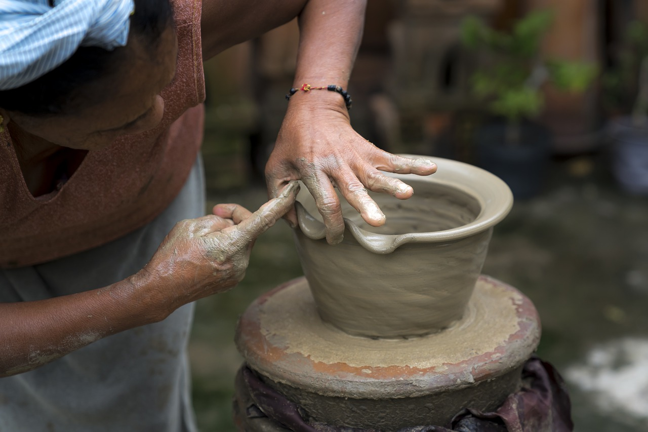 Expertise in pottery, a potter at the wheel