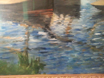manet banks of the seine at argenteuil closeup