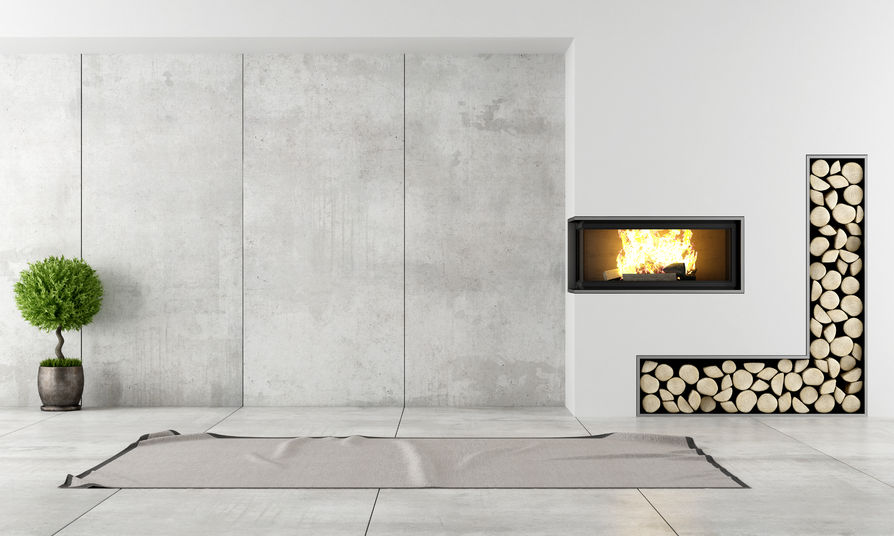 minimalist living room with fireplace without furniture