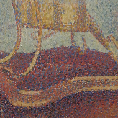 seurat young woman powdering herself closeup